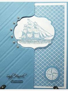 handmade greeting card ... sea theme with sailing ship ... Framelits label flip die cut card ... blue and white ... striped embossing folder texture ... silver pearls ... great card!! ... Stampin' Up!
