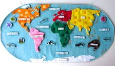 Felt Interactive - Animals of the Ocean for the Montessori Wall Map  LOVE THIS! Would take time to make, but I think totally worth it! Gorgeous details and great instructions.