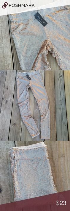 May & July Sequin Leggings Simply gorgeous leggings. Gold-bronze sequins on polyester mesh attached to a polyester lining. Elastic waistband. Never worn. In excellent condition. May & July Pants Leggings
