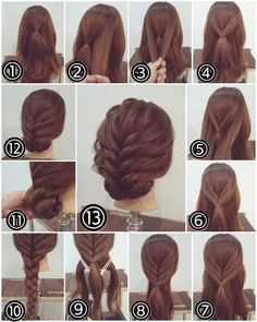 Flechtfrisuren - braided Hair - Haare Zopf Hochsteckfrisur, lange Haare Another activity that's popu Party Hairstyles For Long Hair, Braided Hairstyles, Cool Hairstyles, Easy Hairstyle, Hairstyle Ideas, Hairdos, Braided Updo, Easy Updos For Long Hair, Step By Step Hairstyles