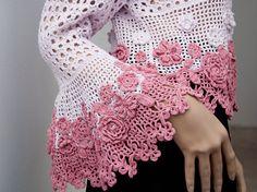 Ручная кардиган крючком цветы с кружевом по LenasHandmade