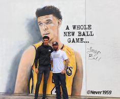 Artist and longtime Los Angeles Lakers fan Jonas Never painted a mural of Lonzo Ball outside of the Spectrum SportsNet studio in El Segundo.