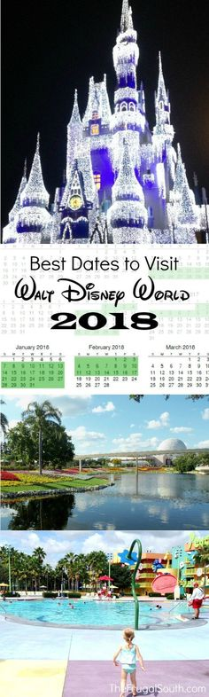 Best times to visit Disney World in 2018! My favorite dates to take a vacation at Walt Disney World based on crowds, cost, and weather. #disneyworld tips and tricks!