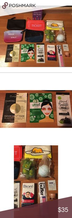 Beauty/Bath/SkinCare/Makeup Lot 💕Read Description - 3 Face Masks - 5 Cute MakeUp Bags - Cotton Scented Bath Bomb - Biore Strips - Sweet Lime Gift Set. Sweet Lime Body Lotion & Sweet Lime Body Mist - 4 Way Buffer For Your Nails - Clinique All About Eyes. ( Reduces Circles & Puffs) - Albolene Eye MakeUp Remover - And A Urban Decay Coupon For 20% Off   I'll sell all of this for a good deal. Just make and offer. I'll most likely accept. EVERYTHING IS NEW AND NEBER USED. If you would like any of…