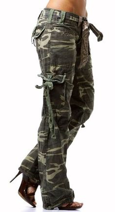 Return of Camo Cargo Pants to the Fashion World Hooefully i can lose enough weight to pull these off. Camouflage PantsHooefully i can lose enough weight to pull these off. Camo Fashion, Military Fashion, Fashion Pants, Fashion Outfits, Womens Fashion, Military Style, Camouflage Fashion, Camouflage Pants, Camo Pants