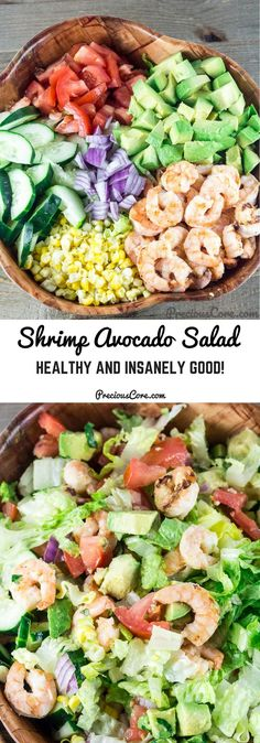 SHRIMP AVOCADO TOMATO SALAD This Shrimp Avocado Salad is so tasty, fresh, filling, and so easy to make. The citrus dressing that goes on top is to die for. Make this for a quick dinner or an appetizer. Get the recipe on Precious Core. Shrimp Avocado Salad, Avocado Salat, Avocado Juice, Shrimp Ceviche, Seafood Salad, Avocado Toast, Seafood Recipes, Appetizer Recipes, Cooking Recipes