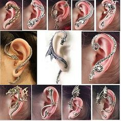 1 Pcs Gothic Punk Snake Dragon Fox Tiger Animal Flower Ear Cuff Stud Earring Hot | eBay