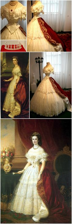 """Replicas of Empress Elisabeth of Austria's tiara and court dress, by D'Elia Salon. Installation photos via """"Mythos Sisi"""" article on Myheimat.de. D'Elia Salon exhibited 12 dresses at the Sisi Schloss Unterwittelsbach, all copies of gowns worn by the empress in portraits. Various portraits from the 1850s and '60s show the empress wearing this style of court dress: an 1863 painting by Franz Russ, at bottom (via Nata Volga on LiveInternet) and an undated portrait right above (via Gogmsite.net)."""