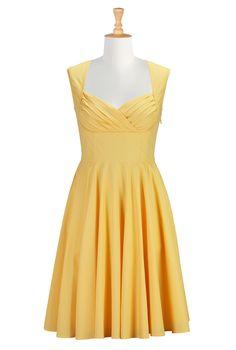 Sunset Yellow Poplin Dresses
