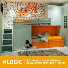 Il #soppalco Logic si sviluppa su una sola parete ed è composto da due #letti sovrapposti e due moduli #armadio
