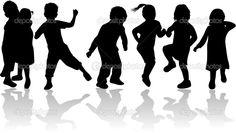 Illustration about Childrens , kids - black silhouettes, vector work. Illustration of girl, similar, sensuality - 7814293 Dance Silhouette, Kids Silhouette, Silhouette Painting, Black Silhouette, Silhouette Pictures, Silhouettes, Woodworking Logo, Woodworking Basics, Black N White Images