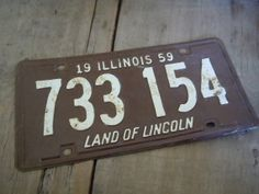 Vintage License Plate Illinois 1959 Brown and by AMarigoldLife, $12.00