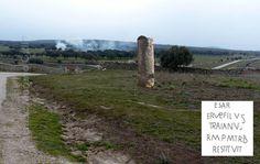 Milla 164 repuesta en su sitio aproximado, en las mismas casas de Calzadilla de Mendigos.