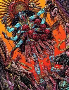 Obsessed With Skulls — A pmage from Crossed Comics. Kali Tattoo, Mother Kali, Divine Mother, Kali Goddess, Goddess Art, Shiva Art, Hindu Art, Arte Horror, Horror Art