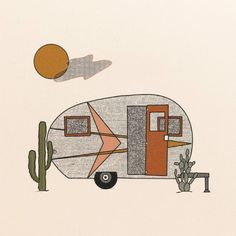 """""""Happy Camper"""" PrintPrinted on 100 lb, Recycled Cardstock, Off-White Matte Speckled (natural flecks)Magnetic Teak Wood Frame not included. Bedroom Pictures, Mountain Art, Happy Campers, Aesthetic Art, Wall Collage, Landscape Art, Art Inspo, Illustration Art, Illustrations"""