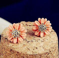 [grxjy530032]Orange flower earrings