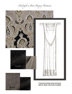 Midnight in Paris Drapery Treatement. customizable designs online DesignNashville.com