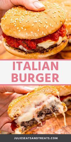 Ground Chuck Recipes, Ground Meat Recipes, Hamburger Recipes, Healthy Family Meals, Healthy Recipes, Yummy Recipes, Italian Burger, Pizza Burgers, Burger Bar