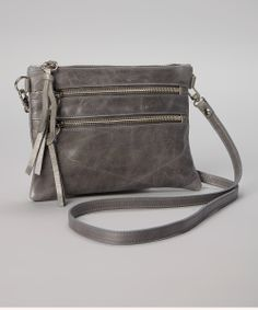 Charcoal Leather Crossbody Bag by Luciana Verde