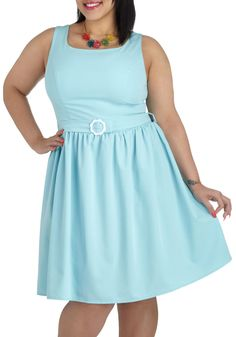 Pastel blue dress plus size