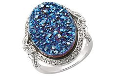 1/10 CARAT DIAMOND AND BLUE DRUSY STERLING SILVER RING