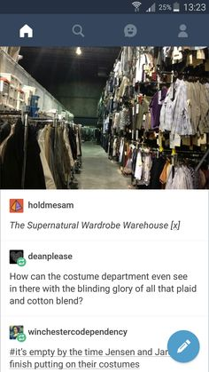 That last comment! :D | The Supernatural Wardrobe Warehouse. #spn