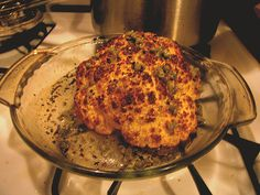 Could a roasted cauliflower replace the Thanksgiving turkey? Whole Roasted Cauliflower with Olive Oil and Capers