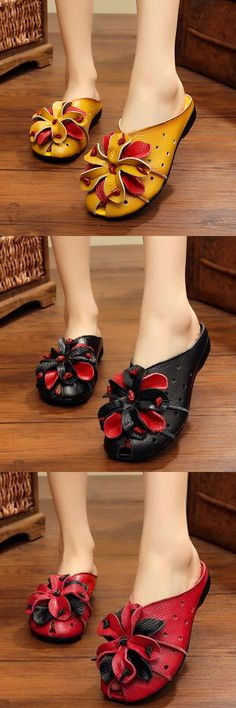 US$27.06  SOCOFY Leather Hollow Out Breathable Flower Retro Soft Backless Loafers