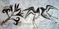 exquisite mural landscape with lilies and swallows -fresco from Thera/Santorini