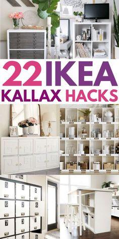 22 of the Best IKEA Kallax hacks for your bedroom, kitchen, and entryway. 22 of the Best IKEA Kallax hacks for your bedroom, kitchen, and entryway. These mid century KALLAX Ikea Kallax Hack, Ikea Hack Storage, Hacks Ikea, Ikea Kallax Regal, Diy Hacks, Storage Ideas, Ikea Malm, Ikea Furniture Makeover, Ikea Furniture Hacks