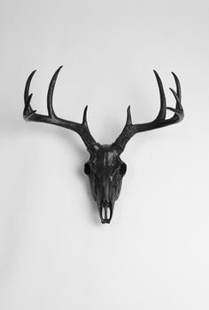 Faux European deer skull mount finished in black. This deer-friendly faux deer skull & antlers is classic yet modern home accent. Find more decorative animal skull mounts at White Faux Taxidermy