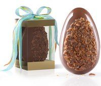 Caramel noted milk chocolate egg dressed with sea salted toffee.