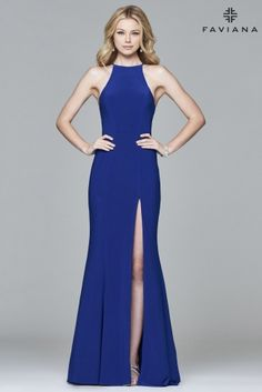 Long stretch jersey halter dress with open back