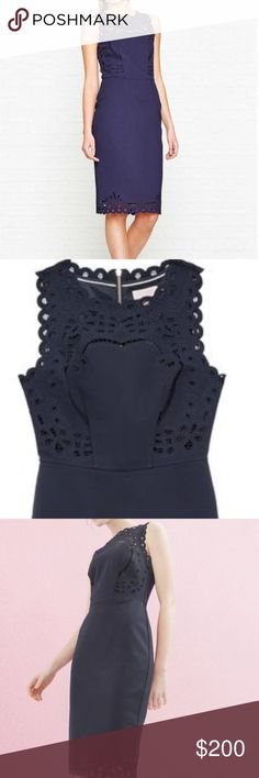 Ted Baker Verita Cutwork Detail Bodycon Dress Ted Baker Verita Cutwork Detail Bodycon Dress. Crafted from lightweight viscose fabric this sleeveless dress features intricate cut out details on the shoulders and hemline. Feminine scalloped trim at the neckline, armholes, and hemline. Color is a beautiful navy.   New with Tags  Product Details: •Shell:  68% Viscose, 28% Polyamide, 4% Elastane •Lining: 96% Polyester, 4% Elastane •Dry Clean  •Size 2 •Short split to the back of hemline…