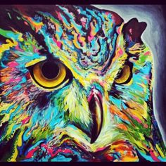 'Owl' by Harvin Alert, London artist, painting Art Pop, Art Magique, Art Visage, Street Art, Colorful Animals, Colorful Owl, Colorful Artwork, Wow Art, Art Plastique