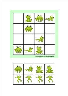 Board and tiles for the sudoku. Laminate and cut out the board and tiles. add hook and loop tape and the sudoku is ready. By Autismespektrum Frog Activities, Frog Games, Learning Activities, Opposites Worksheet, Kindergarten, Hook And Loop Tape, Puzzles For Kids, Special Education, Kids And Parenting