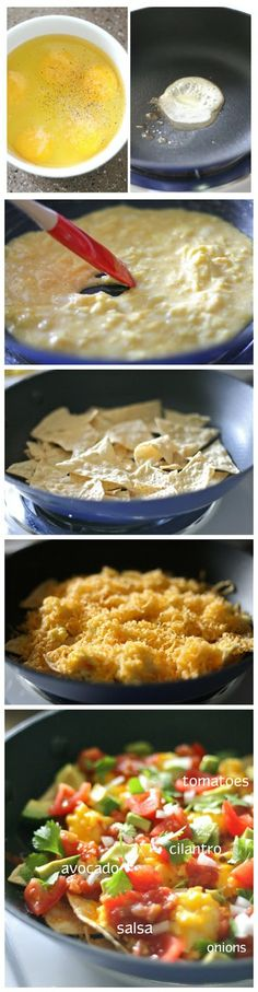 Breakfast Nachos~ I would serve the avocado on the side, I'm allergic but my husband loves it!