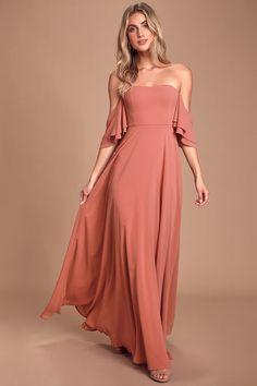 Pretty Rose Dress - Off-The-Shoulder Maxi Dress - Chiffon Dress Elegant Dresses, Beautiful Dresses, Casual Dresses, Fashion Dresses, Formal Dresses, Elegant Gown, Tight Dresses, Coral Dress, Rose Dress