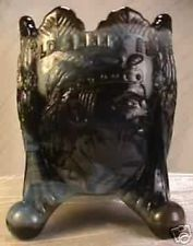 Old Sleepy Eye Toothpick Holder Black Slag W/Opalescent