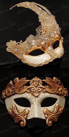 Gold masks for a glamorous couple.