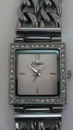 Candie's Silver Tone Pink Leather and Chain Band Rhinstone Lined Face $13.38 on eBay. #Watch #Timepiece #Fashion #FashionAccessories #Accessories