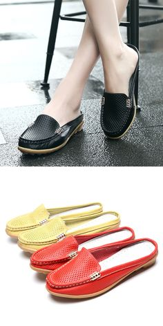 $14.56 Casual Hollow Out Breathable Open Heel Slip On Lazy Shoes Flat Loafers