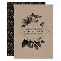 Rustic yet refined, our charming Floral Kraft wedding invitations feature black typography and vintage etched detailing on authentic brown kraft paper cards. Your wedding details are displayed in modern lettering on an elongated diamond shaped element set atop a detailed vintage floral orchid illustration. Cards reverse to a botanical vine pattern in black and kraft. Gender: unisex. Age Group: adult.