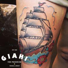 Grey Sails Ship Nautical tattoo by Elda Bernardes