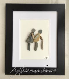 """Together forever"" #agifttorememberart #love #artwork #pebbles #pebbleart #stones #beach #parents #grandparents #frame #madetoorder #makersgonnamake #nature #etsy #etsyshop #gift #uniquegifts #crafts #handmade #handmadeart #عشق #هنردستى"