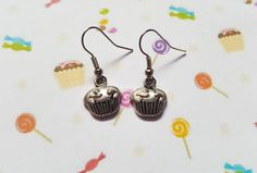 Cupcake earrings, Cake earrings, Dangle earrings, Cake, Cupcakes, Cake lovers, Birthday gift, Gifts for girls, Gift idea