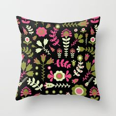 flowers Throw Pillow by Hanna Ruusulampi | Society6
