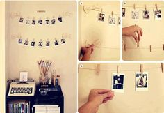 No holes in the wall allowed at many colleges/universities. Here's a clever way to decorate and display photos without incurring damage fees. Wires stuck to the walls with small Command Hooks - bows entirely optional.
