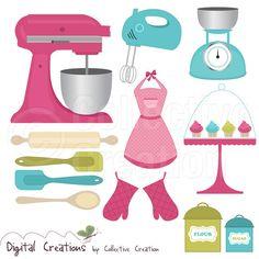 Clip Art Picutres, Clipart, Clip Art, Baking Cooking Digital Clip Art Clipart Set - Personal and Commercial Use Art Clipart, Recipe Scrapbook, Scrapbook Pages, Kitchen Art, Kitchen Tools, Digital Stamps, Digital Scrapbooking, Cooking Clipart, 3d Cuts