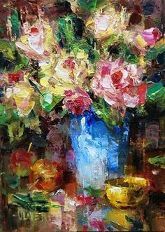 """Daily Paintworks - """"The Rose Bouquet"""" - Original Fine Art for Sale - © Julie Ford Oliver Floral Artwork, Floral Paintings, Flower Painting Canvas, Abstract Flowers, Texture Painting, Beautiful Paintings, Flower Art, Rose Bouquet, Watercolor Art"""